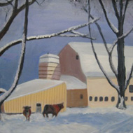 Cattle and Yellow Barn