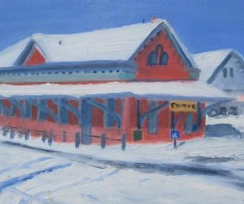 Chester Depot In Winter Painting